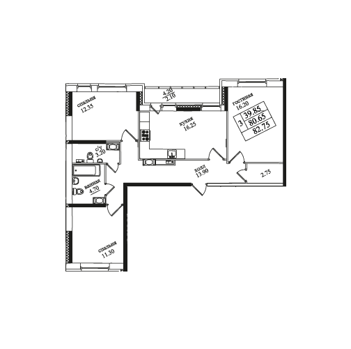 Планировка Трёхкомнатная квартира площадью 82.2 кв.м в ЖК «Северная Долина»