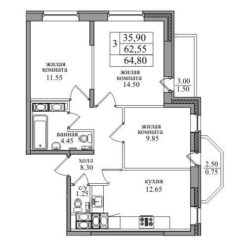 Планировка Трёхкомнатная квартира площадью 64.8 кв.м в ЖК «ЖК Северная долина»
