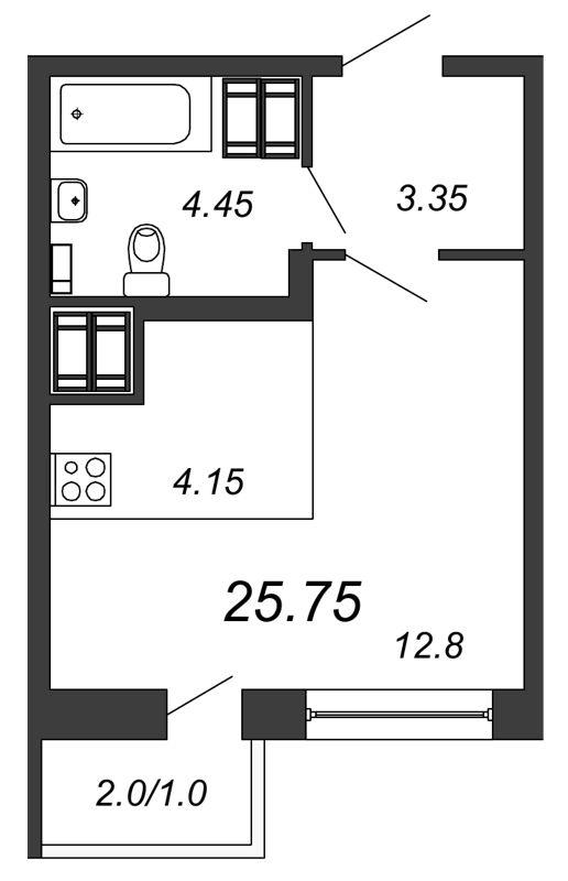 Планировка Студия площадью 25.75 кв.м в ЖК «Северная Долина»