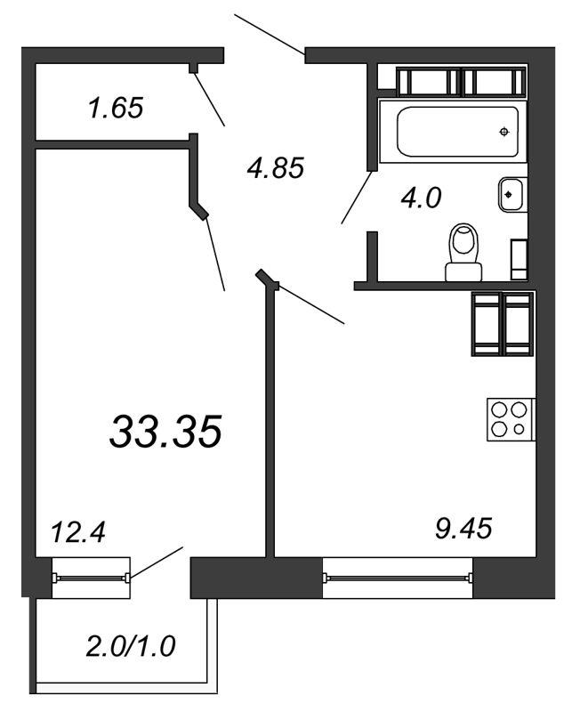 Планировка Однокомнатная квартира площадью 33.35 кв.м в ЖК «Северная Долина»