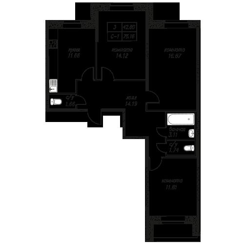 Планировка Трёхкомнатная квартира площадью 74.9 кв.м в ЖК «Северная Долина»