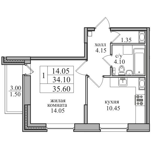 Планировка Однокомнатная квартира площадью 35.6 кв.м в ЖК «ЖК Северная долина»