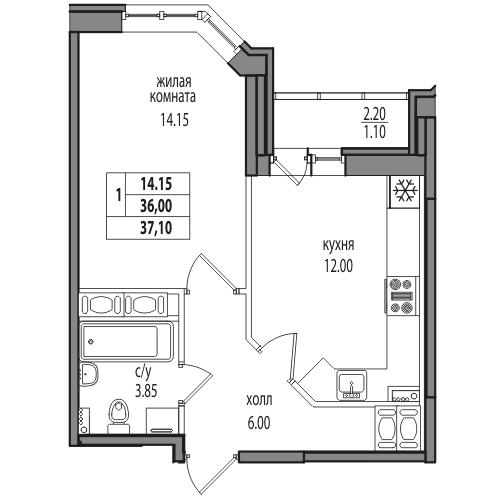 Планировка Однокомнатная квартира площадью 37.1 кв.м в ЖК «ЖК Северная долина»
