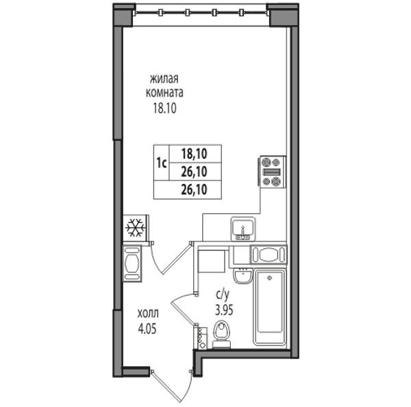 Планировка Студия площадью 26.1 кв.м в ЖК «ЖК Северная долина»