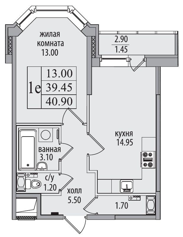 Планировка Двухкомнатная квартира (Евро) площадью 40.9 кв.м в ЖК «Северная Долина»