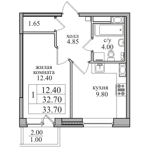 Планировка Однокомнатная квартира площадью 33.7 кв.м в ЖК «ЖК Северная долина»