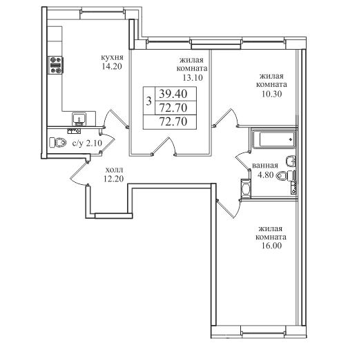 Планировка Трёхкомнатная квартира площадью 72.7 кв.м в ЖК «Северная Долина»