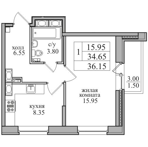 Планировка Однокомнатная квартира площадью 36.15 кв.м в ЖК «ЖК Северная долина»