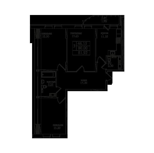 Планировка Трёхкомнатная квартира площадью 81.7 кв.м в ЖК «Северная Долина»