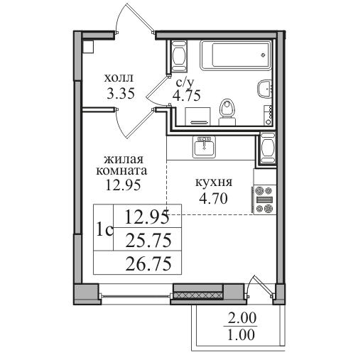 Планировка Студия площадью 26.75 кв.м в ЖК «ЖК Северная долина»